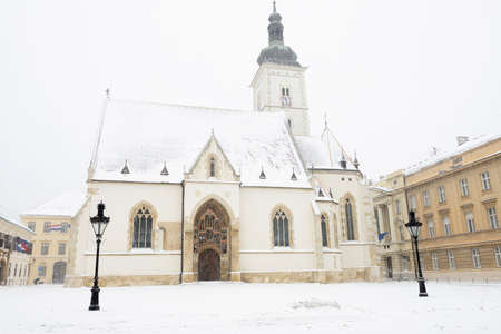 st  mark's: St. Marks church, Zagreb, Croatia, during a snowstorm
