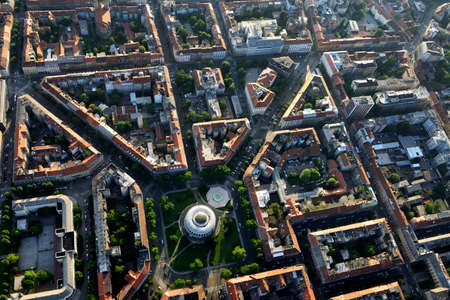street shot: Aerial view of the famous Mestrovic Pavillion and its surroundings in Zagreb, the capital of Croatia. Stock Photo