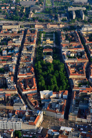 Aerial view of the center of Zagreb, Croatia. Ban Jela?i? Square, Zrinjevac park, Art Pavillion, main railroad station an Lisinski Concert Hal Stock Photo