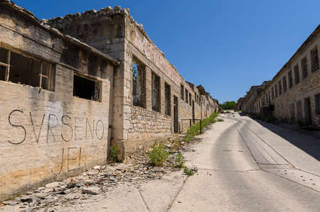 Buildings in Goli otok (Naked Island) was a political prison in ex-Yugoslavia.