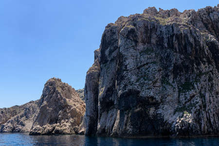 St. Grgur is a small croatian island with harsh, but beautiful cliffs. It was a home to women's political prison during Yugoslavia. Stock Photo