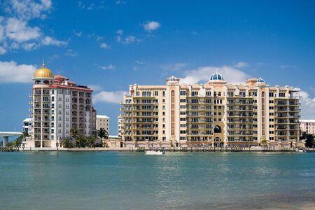 Luxury condos on Sarasota Bay in Florida Stock Photo