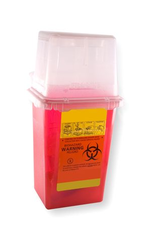 Disposal container for medial syringes and needles, isolated on white background  photo