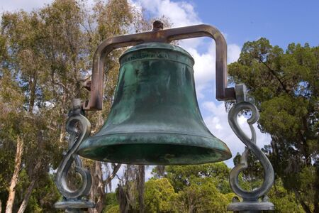 cuntry: Brassbronze bell from an old cuntry church Stock Photo