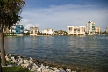 Condos on the waterfront in Sarasota, FL taken from the John Ringling Causway.