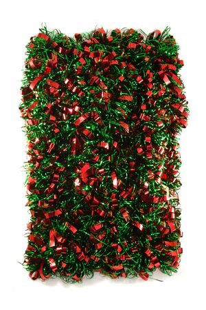 Red & Green Chistmas Garland isolated on white bacground.