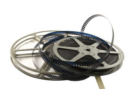 8mm movie film with metal reels.  Isolated on white background. Stok Fotoğraf