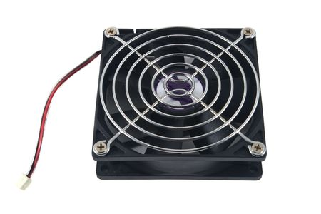 Computer cooling fan, isolated on white background.