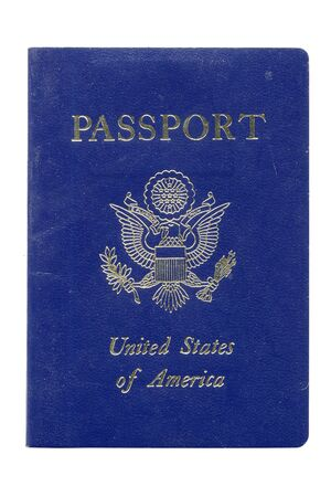 Used and work USA Passport isolated on white background