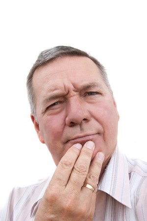 Head shot of a 57 year old man, Caucasian, thinking. Stock Photo - 3989719
