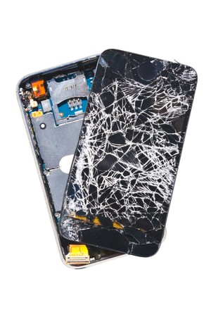 A cell phone that was dropped off a 27th floor balcony, isolated on white background with path Banque d'images