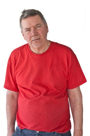 distraught: Distraught mature man, looking hopeless, isolated on white background.