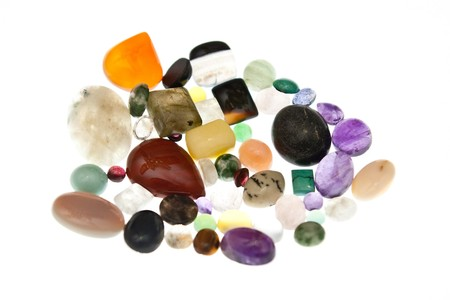 polished: Pile of polished semi-precious gem stones, isolated on a white background