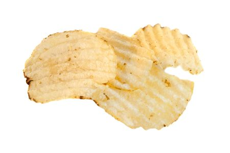 Ridged potato chips, isolated on a white background