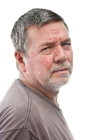 unkept: Mature man of 58 years, with white stubbly beard, 23 view head & shoulders, isolated on white
