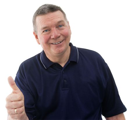 portrait of mature man wearing a dark blue polo shirt, smiling and giving the