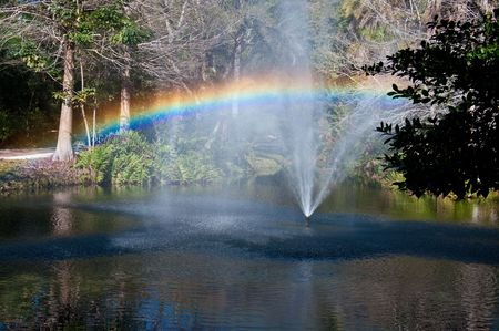 Rainbow from fountain spray in Florida pound
