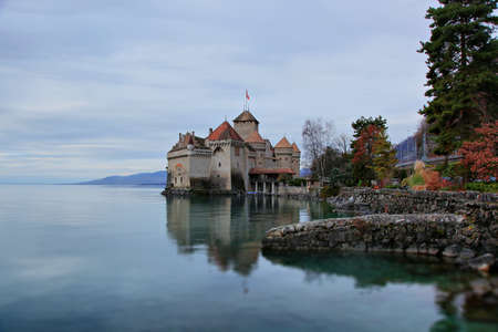 A beautiful winter view of the famous Chateau de Chillon on Lake Geneva, Montreux Switzerland Editorial