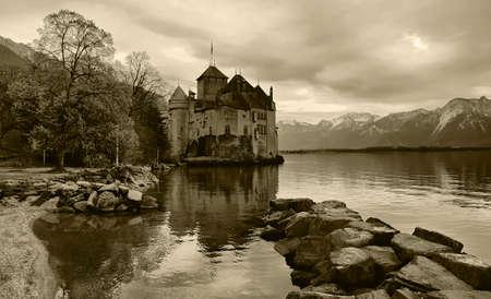 A beautiful winter view of the famous Chateau de Chillon on Lake Geneva, SwitzerlandMontreux April 21, 2012