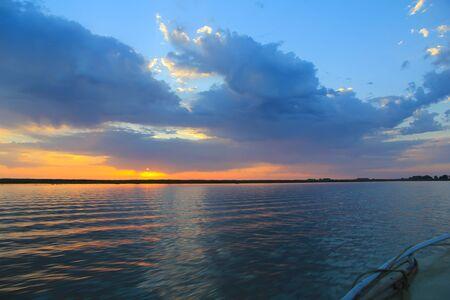 Beautiful landscape Delta of the Volga. Astrakhan Region. Wild nature of Russia.