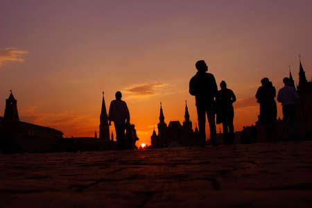 Moscow, Russia, RED SQUARE, Sundown, Sun, Silhouettes Stock Photo