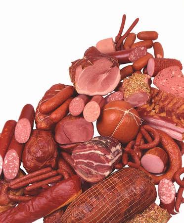 Delizie di carne, prosciutto, salsiccia, salame, hot dog, salsicce di piccole dimensioni
