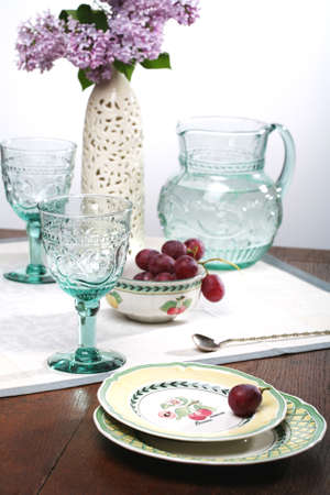 Summer Still life with Lilac and Grape, Dishes Stock Photo - 1470868