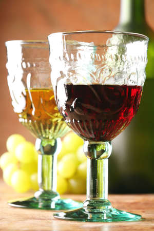 Still-life with Two Goblets, Grape and Bottle, Medieval Style photo