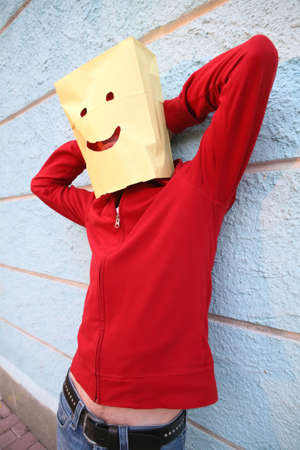 raised hand: Package-Head, Merry Funny Man with Raised Hand Stock Photo