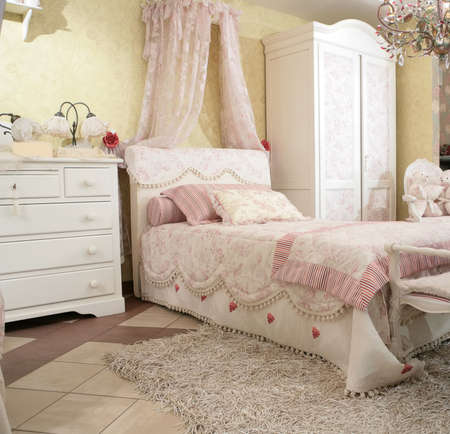 canopy: interior to luxurious  bedroom in rococo style, expensive furniture Stock Photo