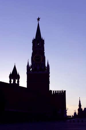spasskaya: Moscow, Russia, Silhouette Spasskaya Tower of Moscow Kremlin Stock Photo
