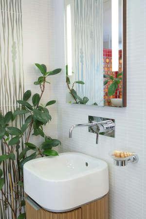 delftware: il frammento di bagno interno con delftware lavello per il lavaggio