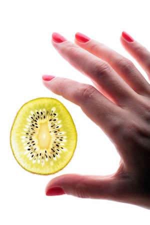 scientific sweet study sample kiwi, closeup, hands of the researcher photo