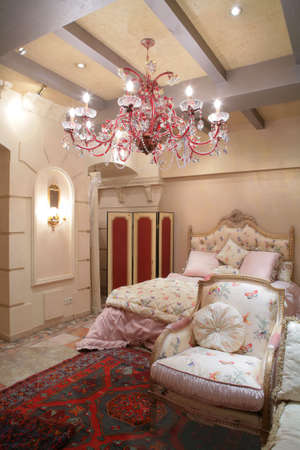 Interior to luxurious bedroom in vintage style