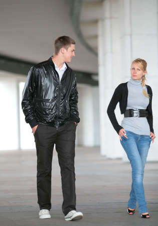 young man and funny woman go and smile Stock Photo - 3325659