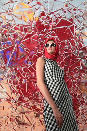 splendid: girl in image of the 50-s on the surreal background