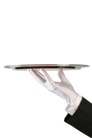 gant blanc: part du serveur en gant blanc plat avec de l'argent sur fond blanc, avec copie-espace
