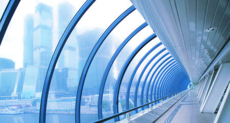 fantastic urban view from interior of the modern bridge