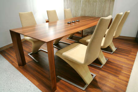 trendys dining room with unusual chairs