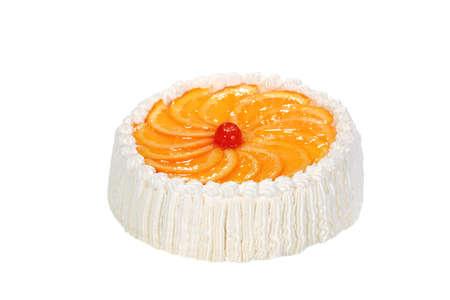 orange sweet cake on the white background Stock Photo
