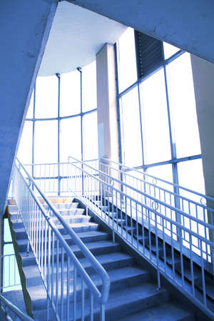 abstract interior with stairway upwards Stock Photo