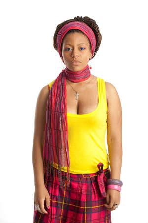 tanktop: black beautiful young woman in yellow tanktop Stock Photo