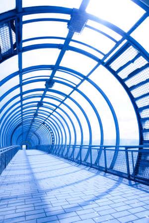 futuristic interior of the pedestrians bridge