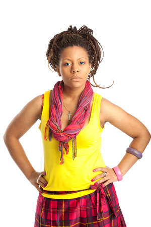 beautiful black girl in the yellow tanktop and red scarf