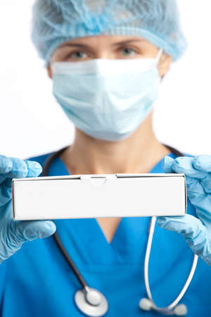 portrait of the physician and box with copy-space Stock Photo - 5594962