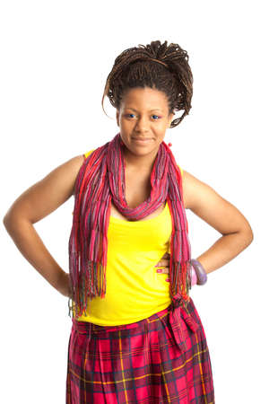 tanktop: smiling young african woman in the yellow tanktop Stock Photo