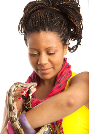 woman with snake on the white background photo