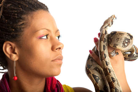 young black woman with python on the white background photo