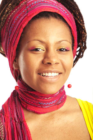 black young woman portrait with varicolored scarf on the head