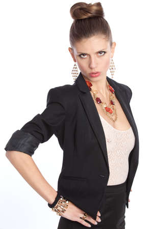 serious young woman in a business suit on overwhite photo